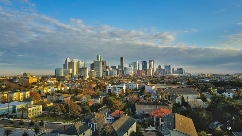 Luchtfoto van Houston Downtown City stock foto's