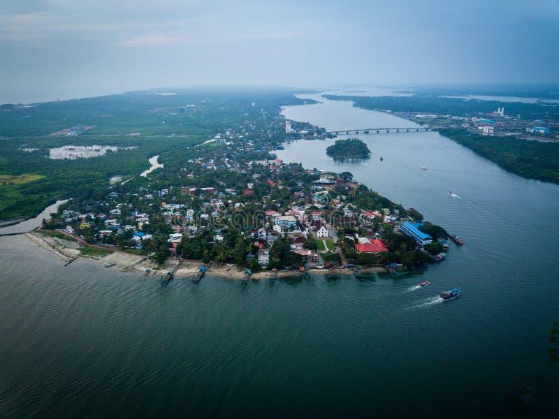 Luchtfoto van Kochi in India stock afbeelding