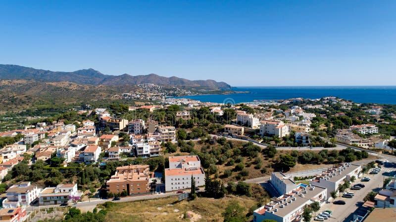 Luchtfoto van Llanca in Catalonië royalty-vrije stock fotografie