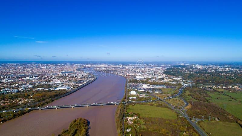 Luchtfotografie van de stad van Bordeaux royalty-vrije stock afbeelding