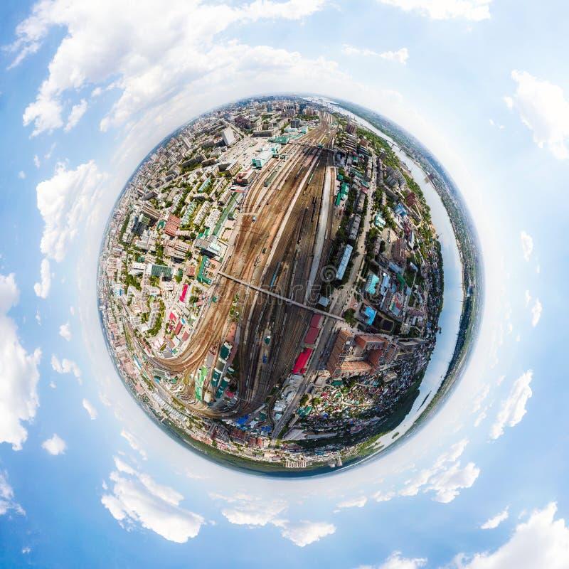 Luchtfotografie van een moderne spoorweg stock illustratie