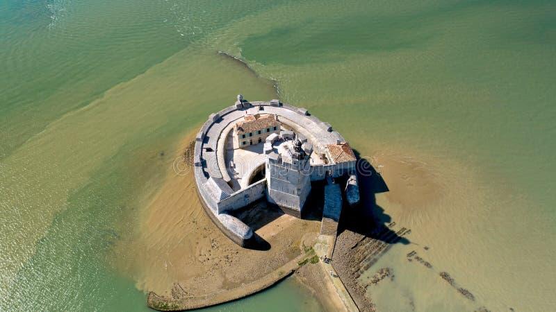 Luchtfotografie van Fort Louvois in Charente-Maritime stock fotografie