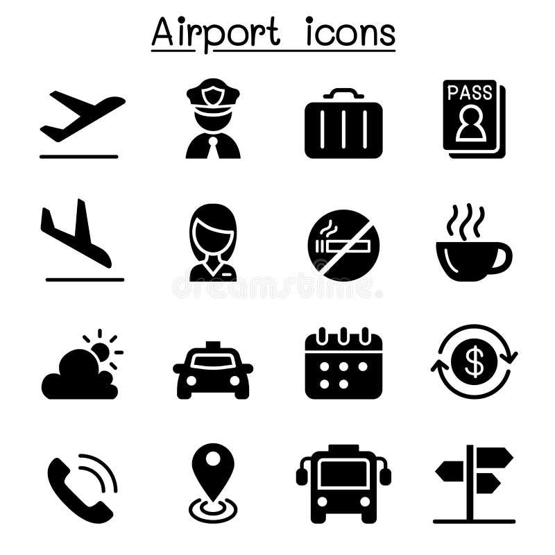 Luchthaven & de reeks van het Luchtvaartpictogram stock illustratie
