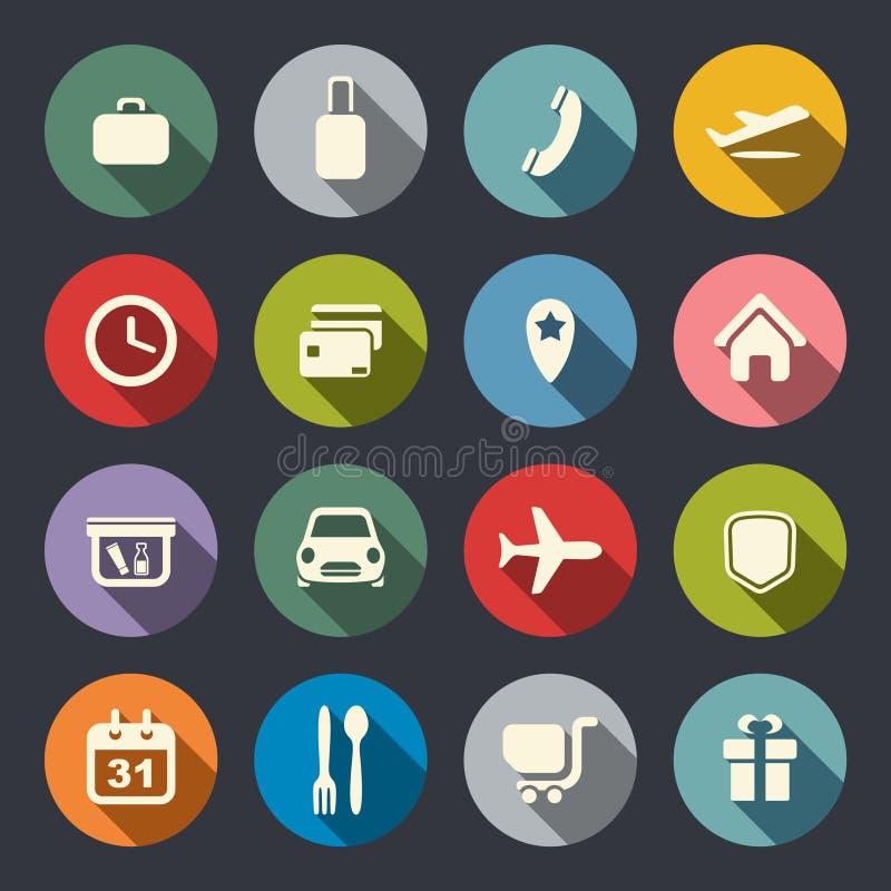 Luchthaven en luchtvaartlijnen de diensten vlakke pictogrammen royalty-vrije illustratie