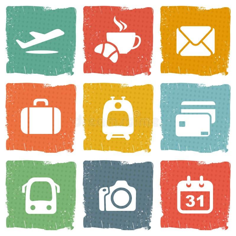 Luchthaven en luchtvaartlijnen de dienstenpictogrammen stock illustratie