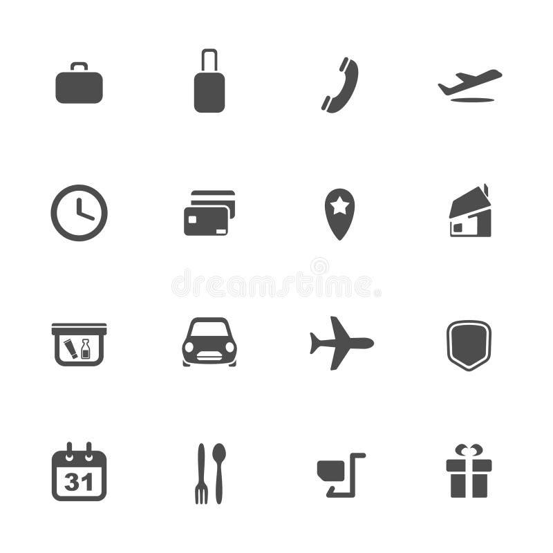 Luchthaven en luchtvaartlijnen geplaatste de dienstenpictogrammen vector illustratie