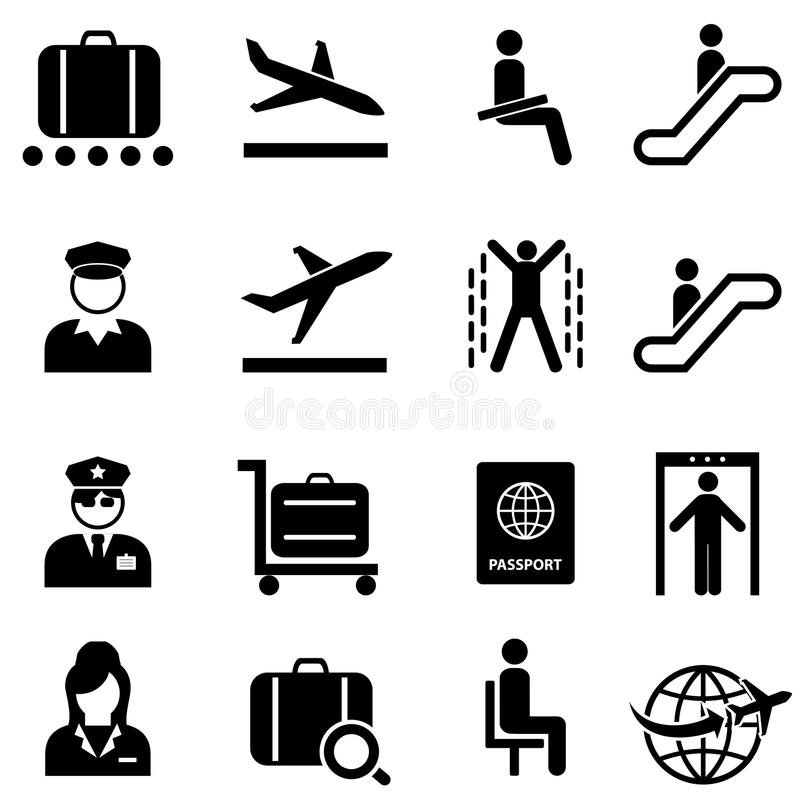 Luchthaven en vliegtuig het pictogramreeks van het reisweb stock illustratie