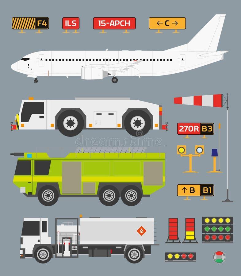 Luchthaven infographic reeks met vrachtwagens stock illustratie