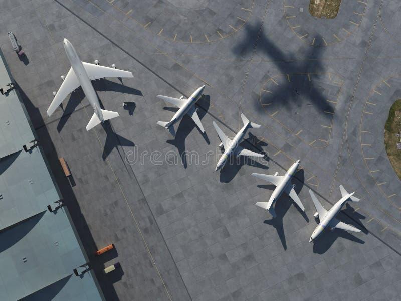Luchthaven, luchtmening royalty-vrije illustratie