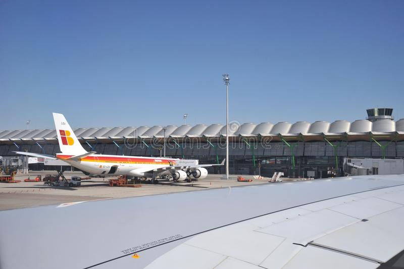Luchthaven Madrid-Barajas stock foto's
