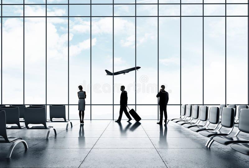 Luchthaven met mensen stock afbeeldingen