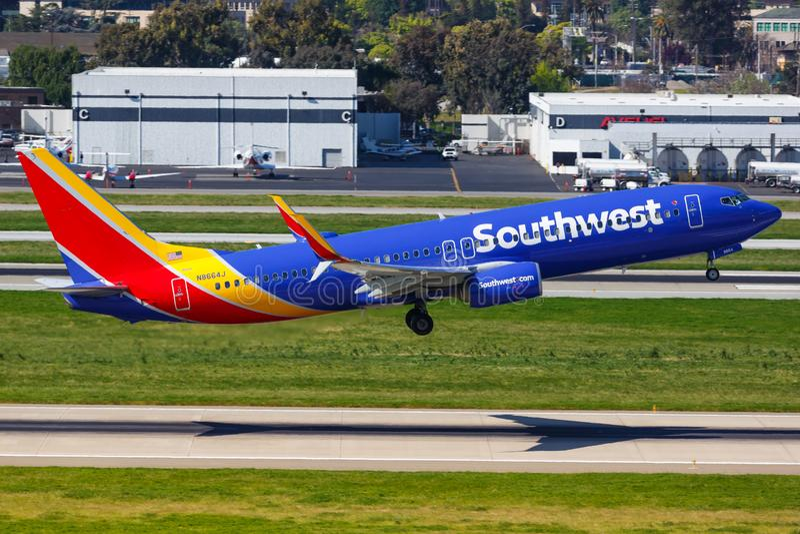 Luchthaven van Southwest Airlines Boeing 737-800 vliegtuig San Jose royalty-vrije stock foto