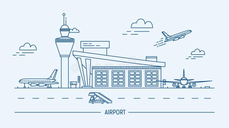 Luchthaven, vliegtuigen Lineart zwart-witte vectorillustratie met luchthaven en vliegtuigen vector illustratie
