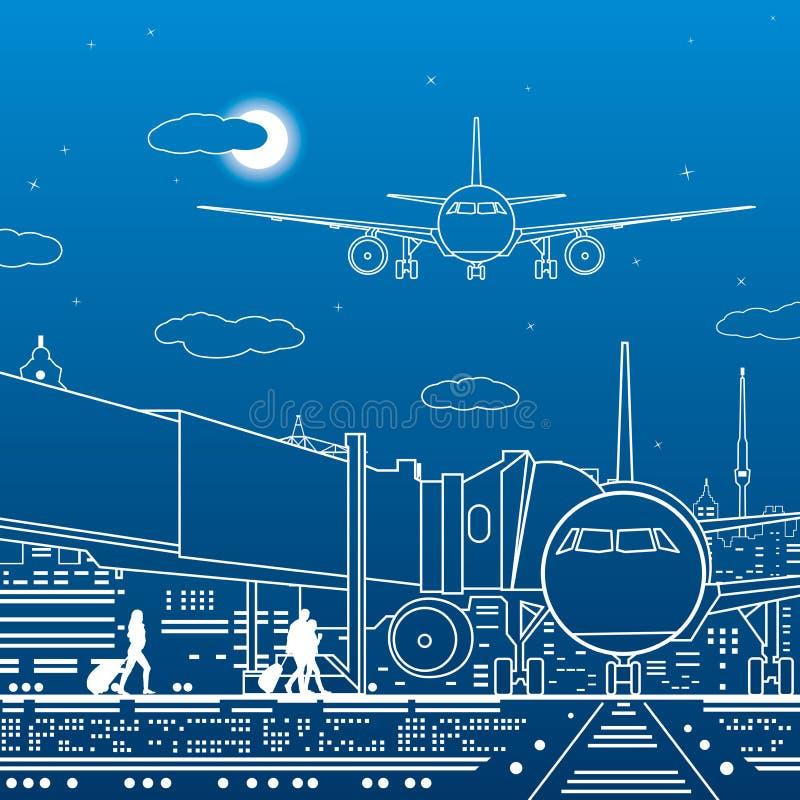 Luchthavenillustratie De passagiers gaan naar het vliegtuig Het vervoersinfrastructuur van de luchtvaartreis Het vliegtuig is op  stock illustratie