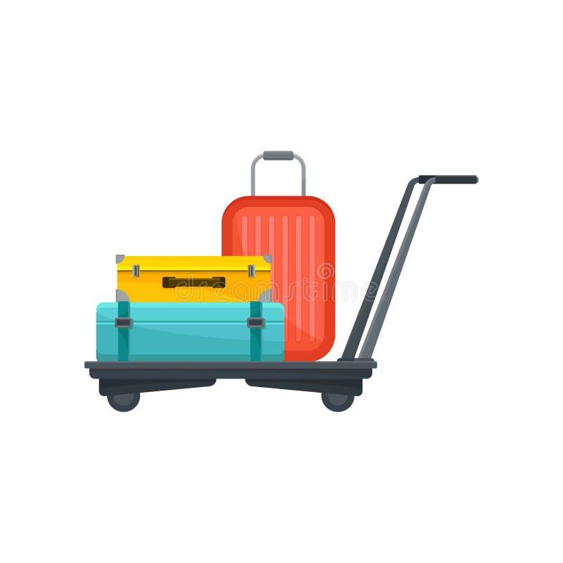 Luchthavenkarretje met koffers Reiszakken van toeristen Bagage van passagiers Bagagethema Vlak vectorontwerp vector illustratie