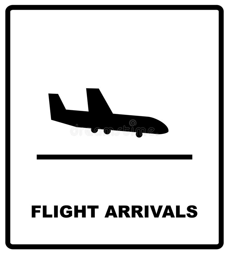 Luchthaventeken, geplaatste luchthavenpictogrammen stock illustratie