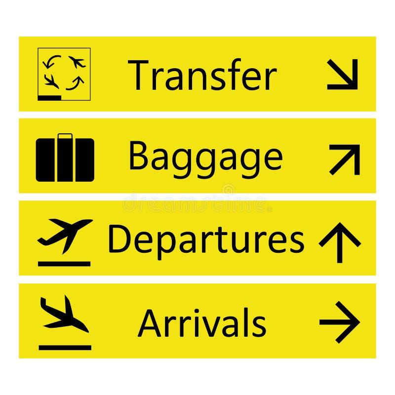 Luchthaventekens, op witte achtergrond worden geïsoleerd die royalty-vrije illustratie