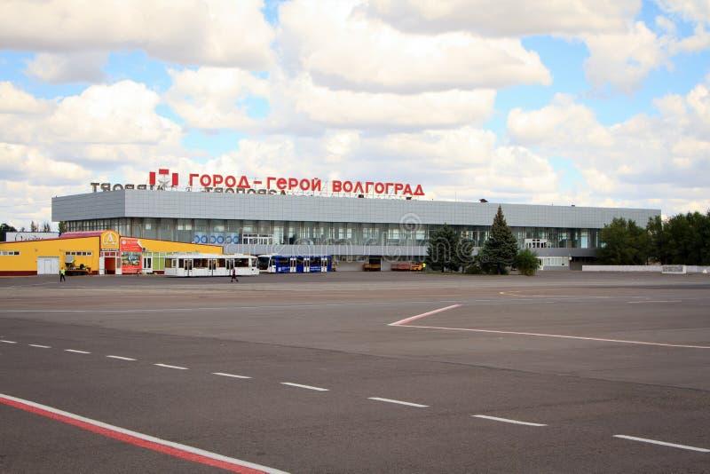 Luchthaventerminal in de stad van Volgograd royalty-vrije stock afbeelding