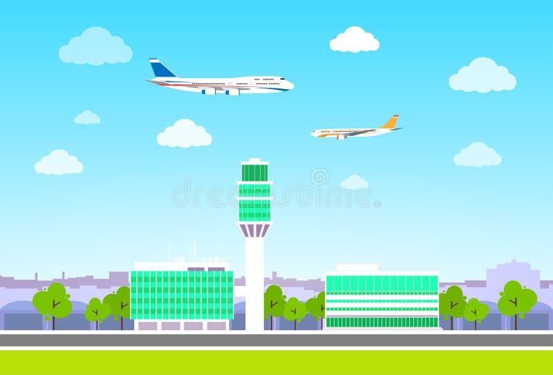 Luchthaventerminal met vliegtuigen die vlak ontwerp vliegen royalty-vrije illustratie