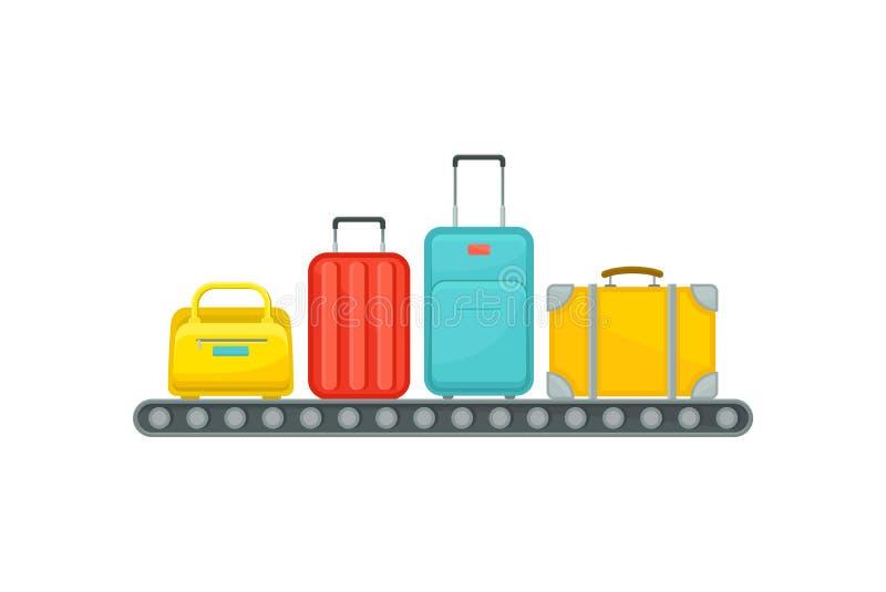 Luchthaventransportband met koffers De bagage wint gebied terug Reiszakken Carrousel met bagage van passagiers vlak vector illustratie