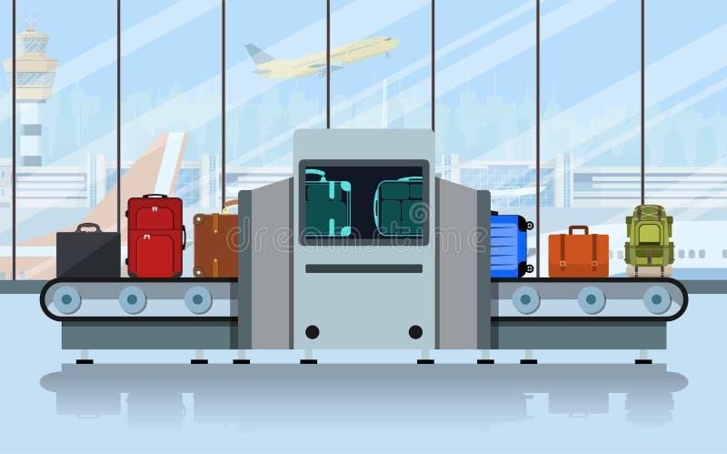 Luchthaventransportband met passagiersbagage royalty-vrije illustratie