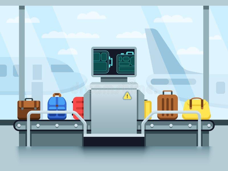 Luchthaventransportband met passagiersbagage en politiescanner Eindcontrolepost vectorconcept vector illustratie