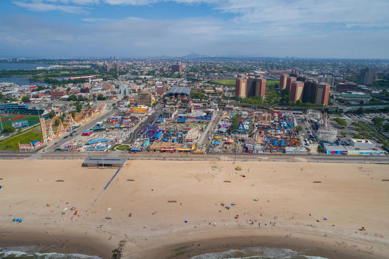 Luchthommelfoto van Coney Island New York de V.S. stock fotografie
