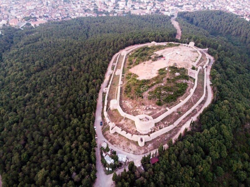 Luchthommelmening van Aydos-Kasteel in Sultanbeyli/Istanboel royalty-vrije stock afbeeldingen