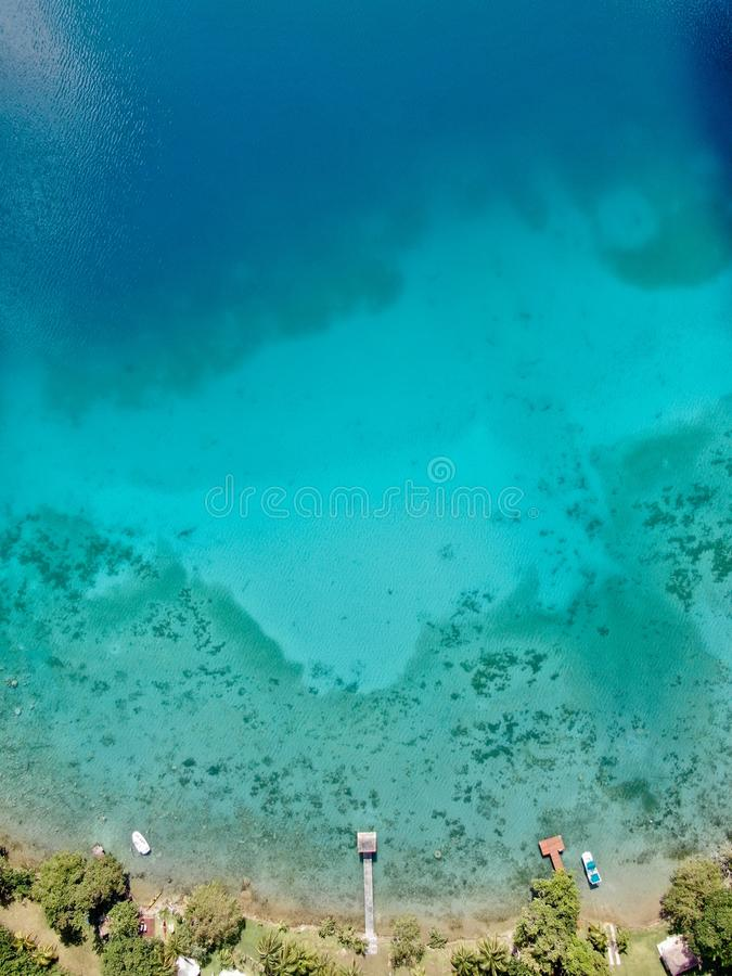 Luchthommelmening van Bacalar in Mexico royalty-vrije stock foto's