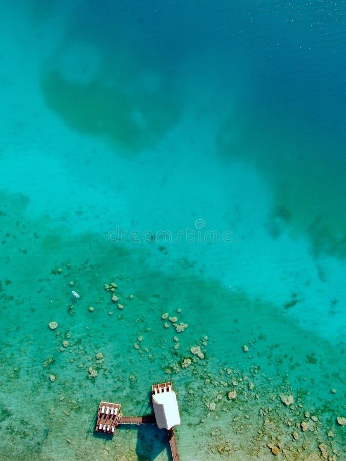 Luchthommelmening van Bacalar in Mexico stock afbeelding