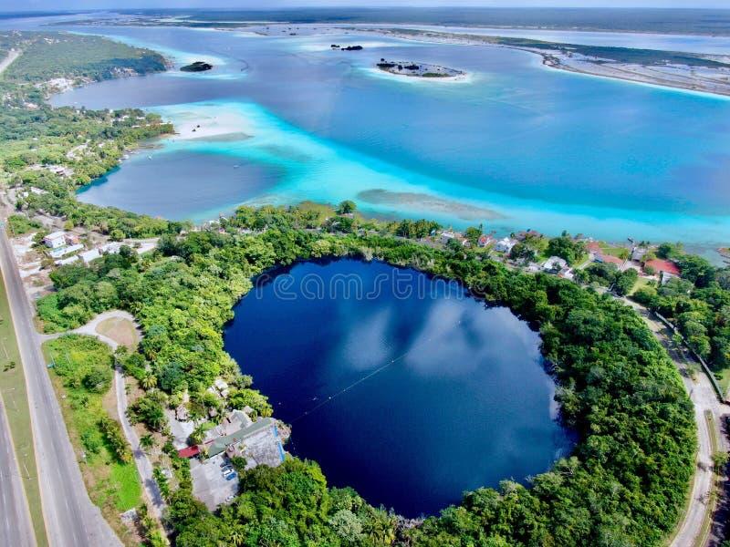 Luchthommelmening van Bacalar in Mexico en blauwe cenote stock afbeeldingen