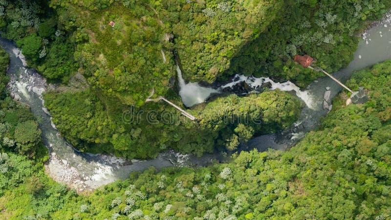Luchtkaart van de Kaart van Pailon Del Diablo Waterfall ComplexAerial van stock foto's