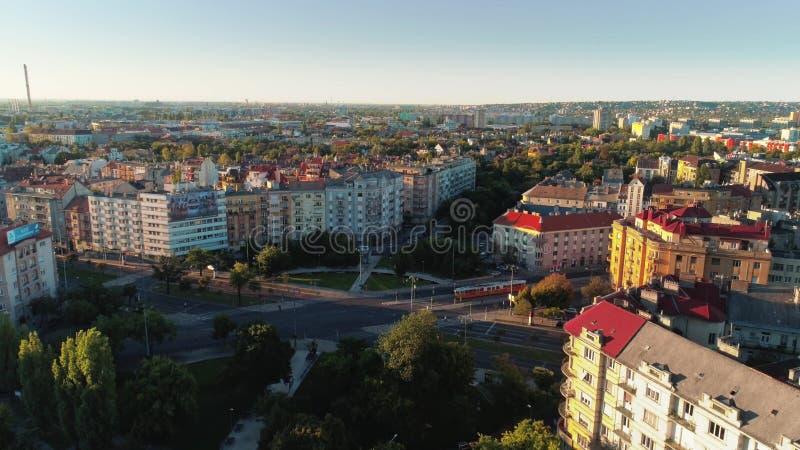 Luchtlengte van vroege ochtend in city4 royalty-vrije stock fotografie