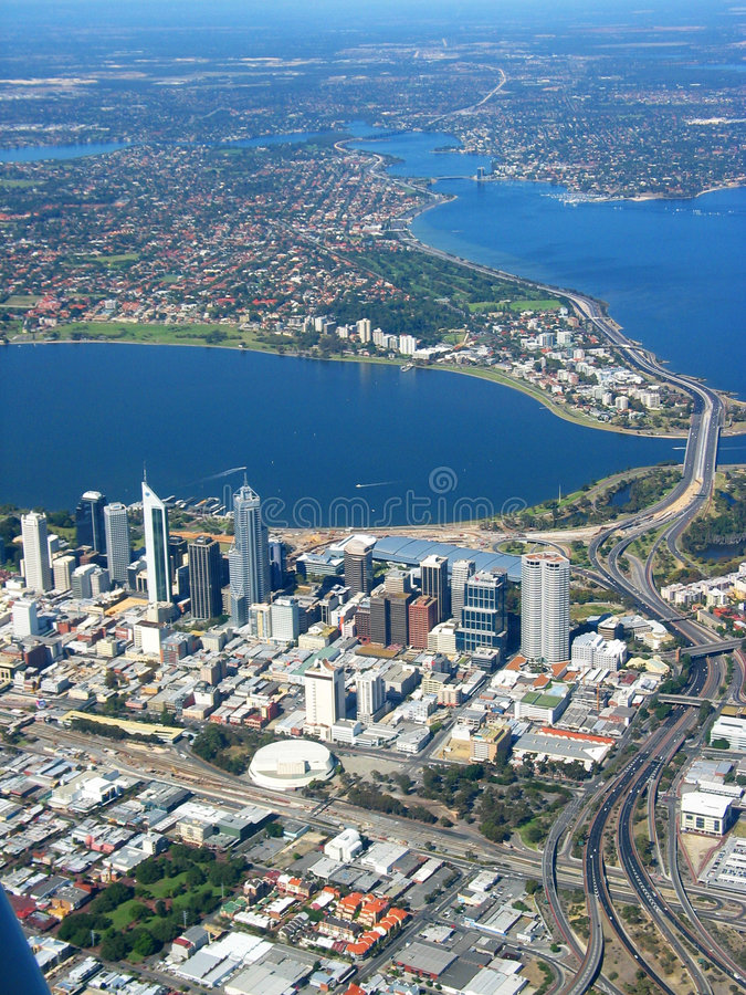 LuchtMening 2 van de Stad van Perth stock fotografie