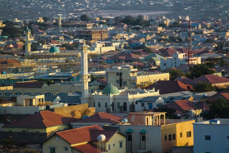 Luchtmening aan Hargeisa, grootste stad van Somaliland Somalië stock afbeelding