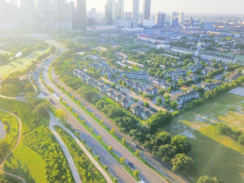 Luchtmening Afdelingsdistrict het van de binnenstad en Vierde van Houston royalty-vrije stock foto's