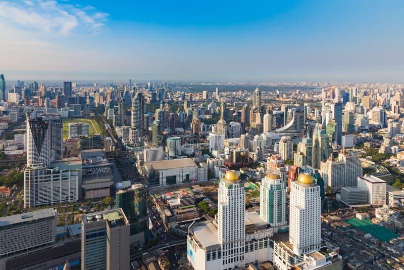 Luchtmening, de stads centrale zaken van Bangkok de stad in stock fotografie