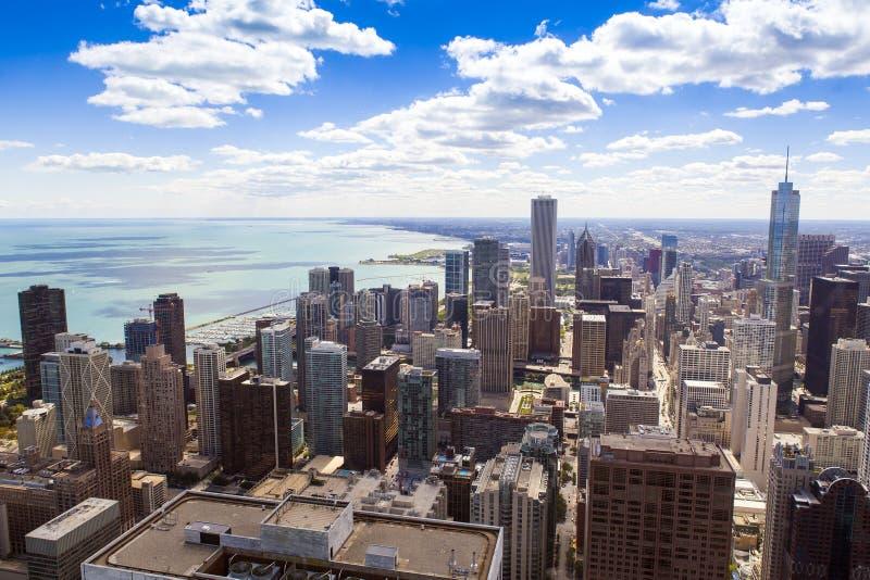 LuchtMening de Van de binnenstad van Chicago stock foto's
