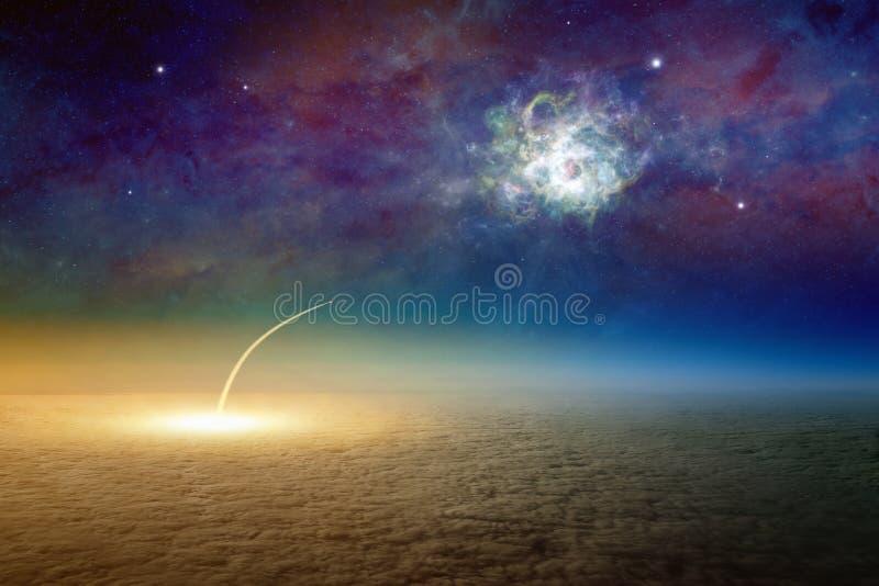 Luchtmening die van ruimteveer, opdracht aan diep buitens van start gaan stock illustratie