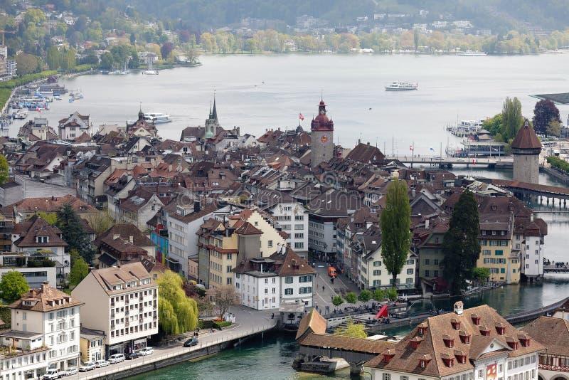 Luchtmening naar de oude stad van Luzerne ` s stock afbeelding