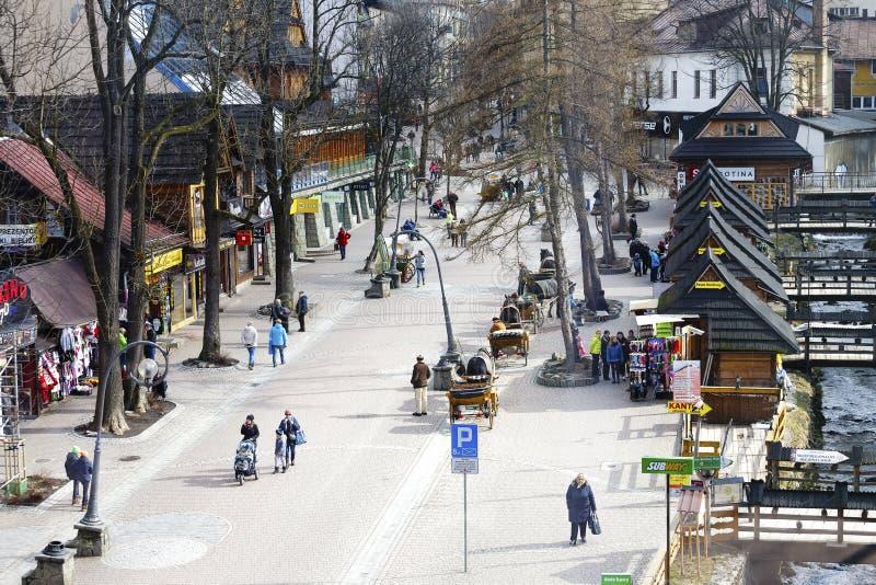 Luchtmening naar Krupowki-straat stock foto's