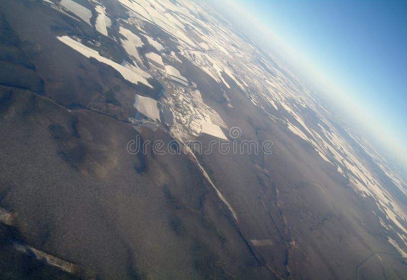 Luchtmening op tijd van de winter stock foto