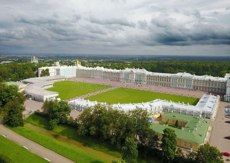 Luchtmening over Katherines-Paleiszaal in Tsarskoe Selo Pushkin, Rusland royalty-vrije stock foto