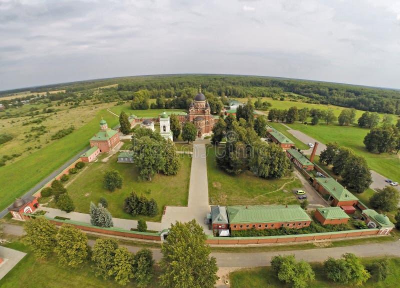 Luchtmening over klooster spaso-Borodinsy dichtbij Borodino stock foto's