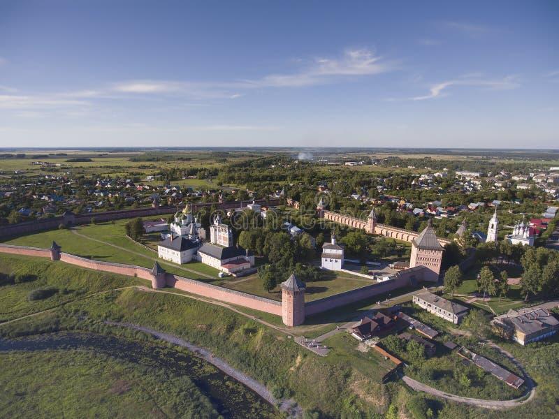 Luchtmening over Klooster van Heilige Euthymius in Suzdal Rusland royalty-vrije stock foto's