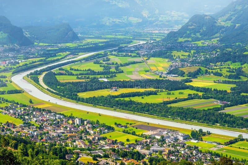 Luchtmening over Liechtenstein royalty-vrije stock foto's