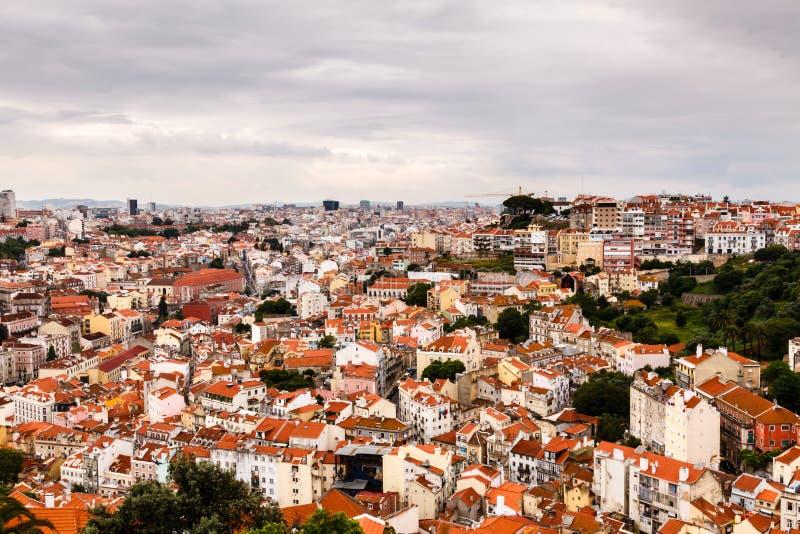 Luchtmening over Lissabon Heilige George Castle stock fotografie