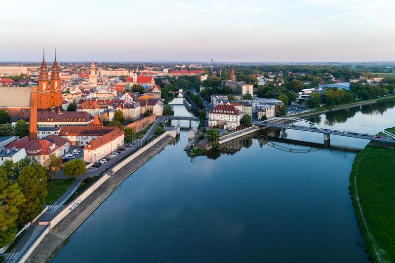 Luchtmening over Opole stock foto