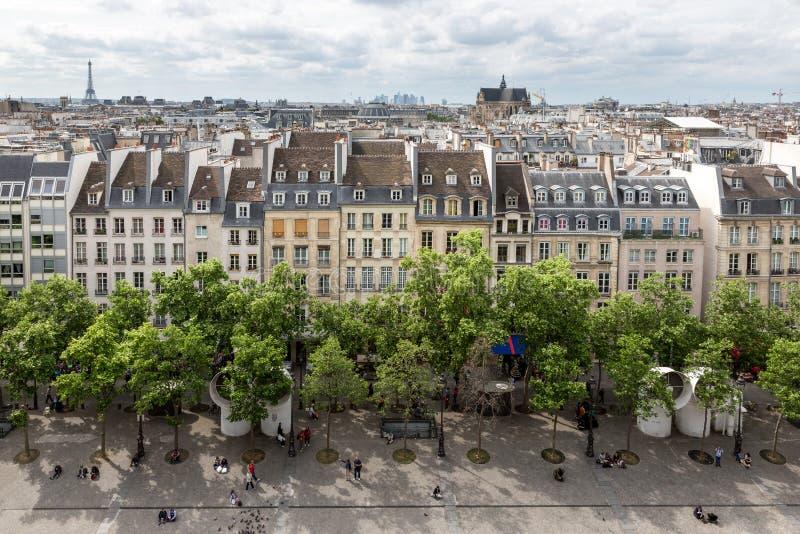 Luchtmening Parijs van dakterras van Centre Pompidou, Parijs royalty-vrije stock foto's