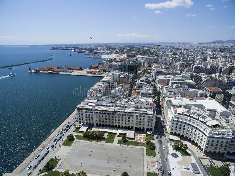 Luchtmening van Aristotelous-Vierkant in Thessaloniki Griekenland stock afbeelding